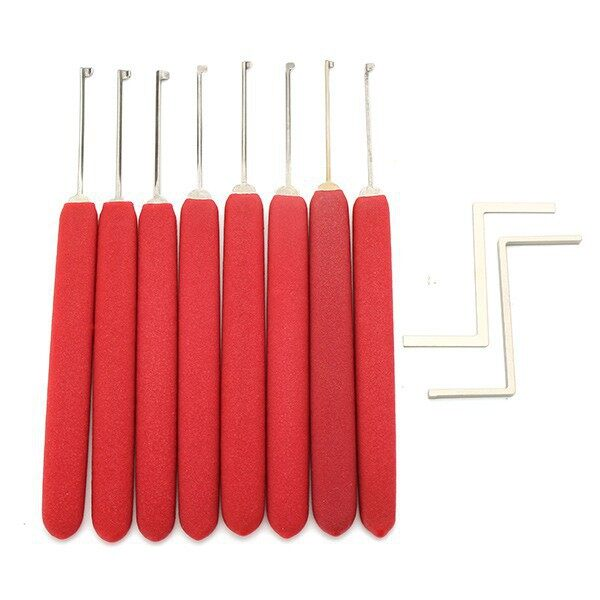 Cool Gadgets - 8 PIECE(s) Red Handle Kaba Lock Opener Lock Pick Tools with TransparentDB - Mobile & Accessories