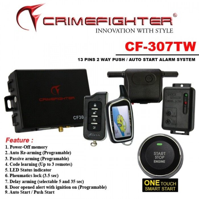 CRIMEFIGHTER CF307TW 2 Way CAR ALARM SYSTEM AUTO/PUSH (Version 2)