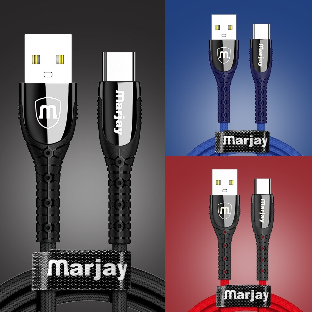 Mobile Cable & Chargers - 3A Micro USB Type C Fast Charging Lace Zinc Alloy Weaving Mobile Phone Data Cable For HUAWEI - RED-MICRO USB 1M / BLUE-MICRO USB 0.5M / BLACK-TYPE C 0.5M / RED-MICRO USB 2M / RED-MICRO USB 0.5M / BLUE-TYPE C 0.5M / RED-TYPE