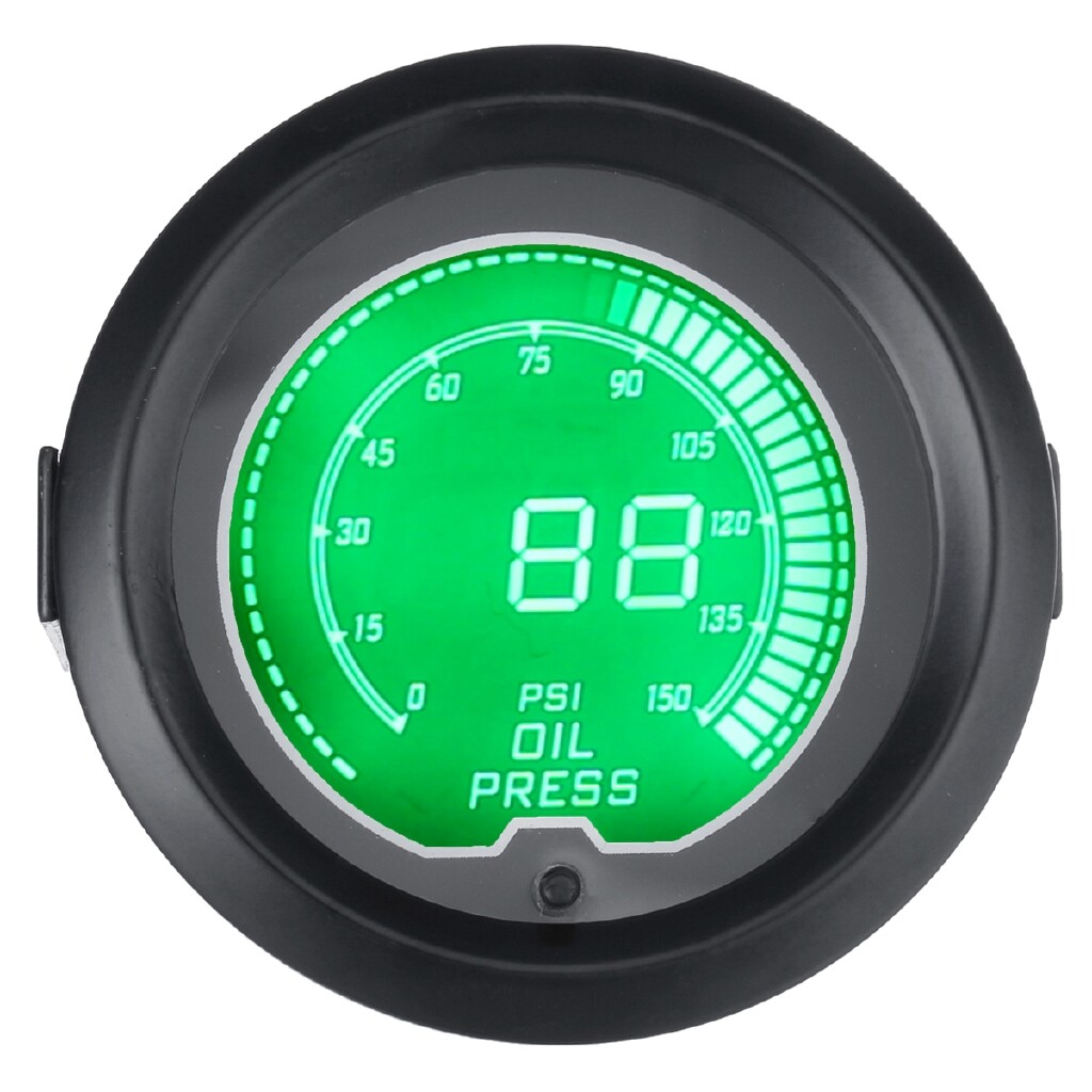Gauges & Meters - Car 2 Inch 52mm Oil Press Pressure Gauge Digital 7-Color LED 150 PSI Meter Metal - Car Accessories