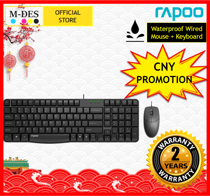[Waterproof] RAPOO X120 Pro Wired Mouse + Wired Keyboard (Combo Set)