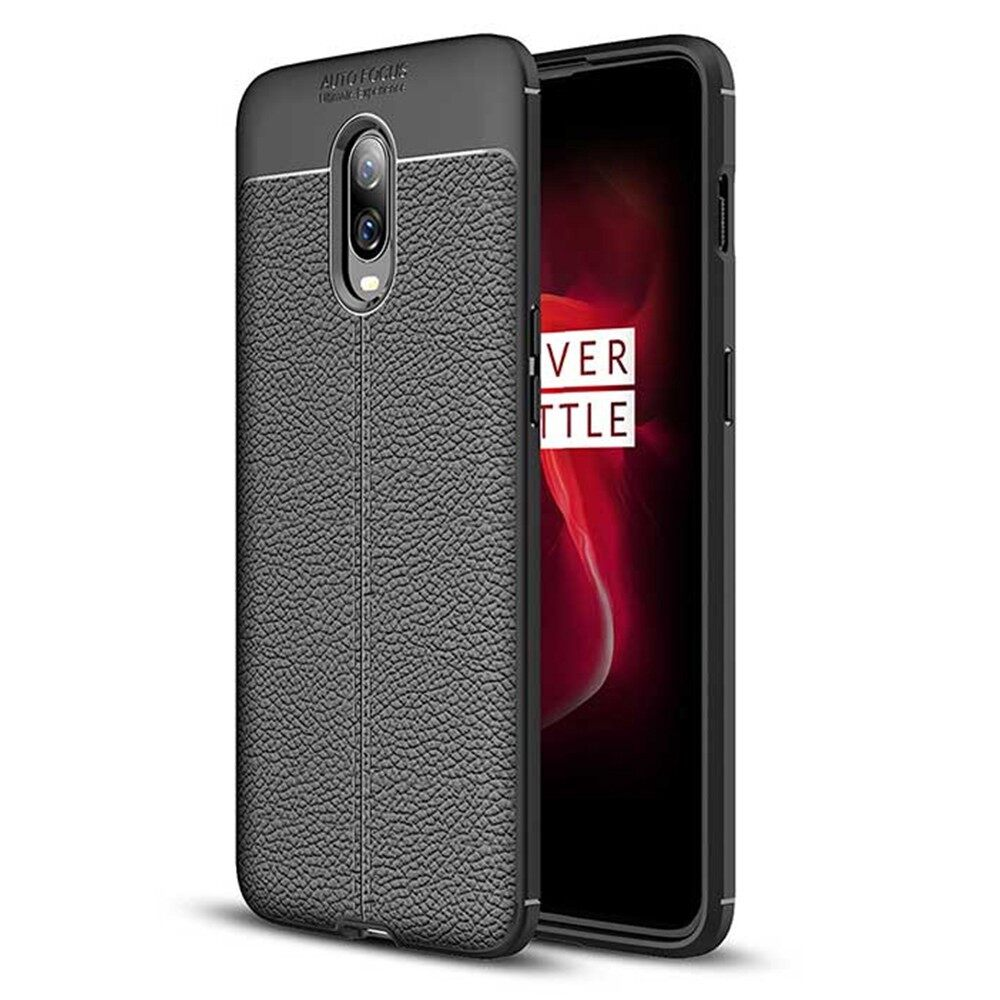 iPh Soft Cover - Litchi Pattern Soft TPU Back Cover Protective Case for OnePlus 6T - RED / GREY / BLACK / BLUE