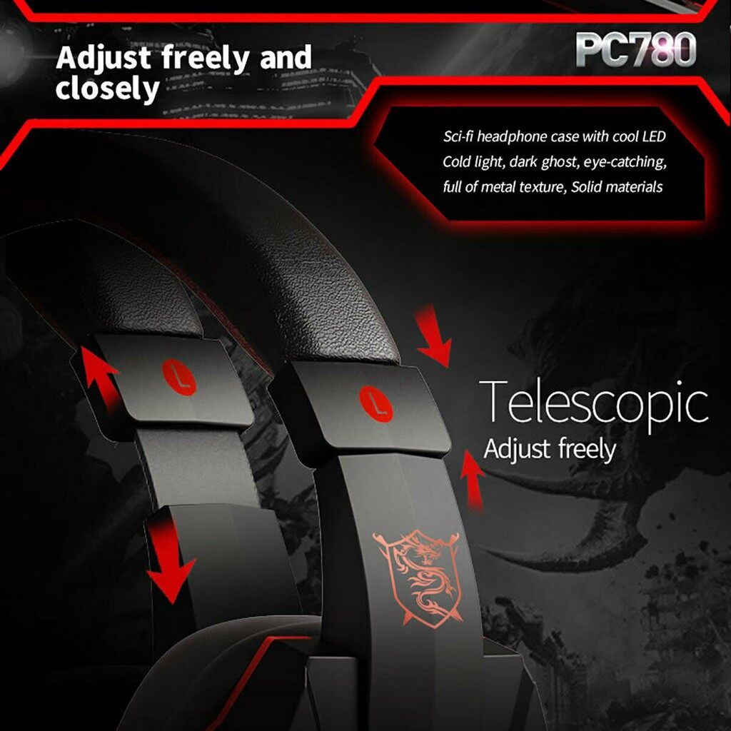 PLEXTONE PC780 Gaming Headphones Subwoofer Stereo Bass Game Earbud Earphone with Mic Light USB for - BLACK&RED-NO LIGHT / BLACK&RED-WITH LIGHT / BLACK&BLUE-NO LIGHT / BLACK&BLUE-WITH / WHITE&BLUE-NO LIGHT / WHITE&BLUE-WITH