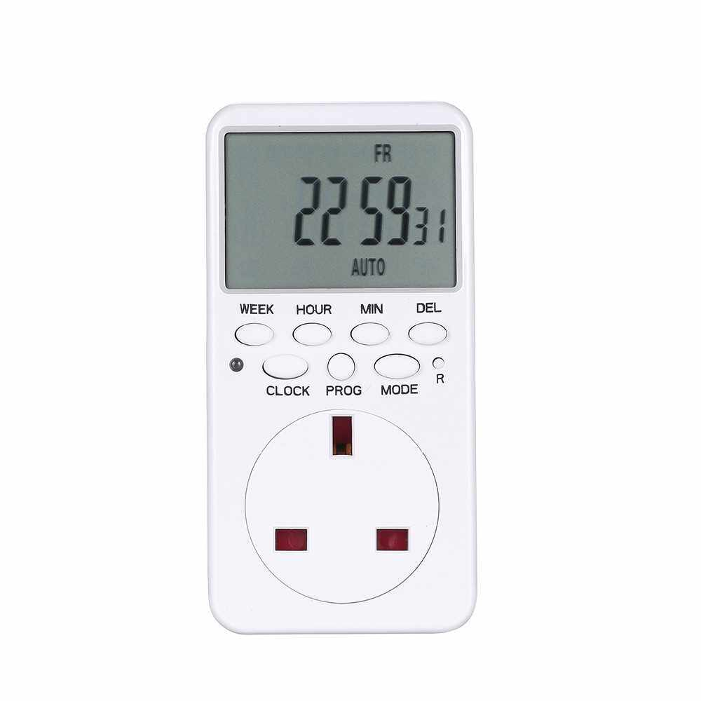 Digital Timer Switch Socket LCD Display Plug-in Programmable Time Switch Energy Saving Intelligent Electronic Timing Socket (Uk)
