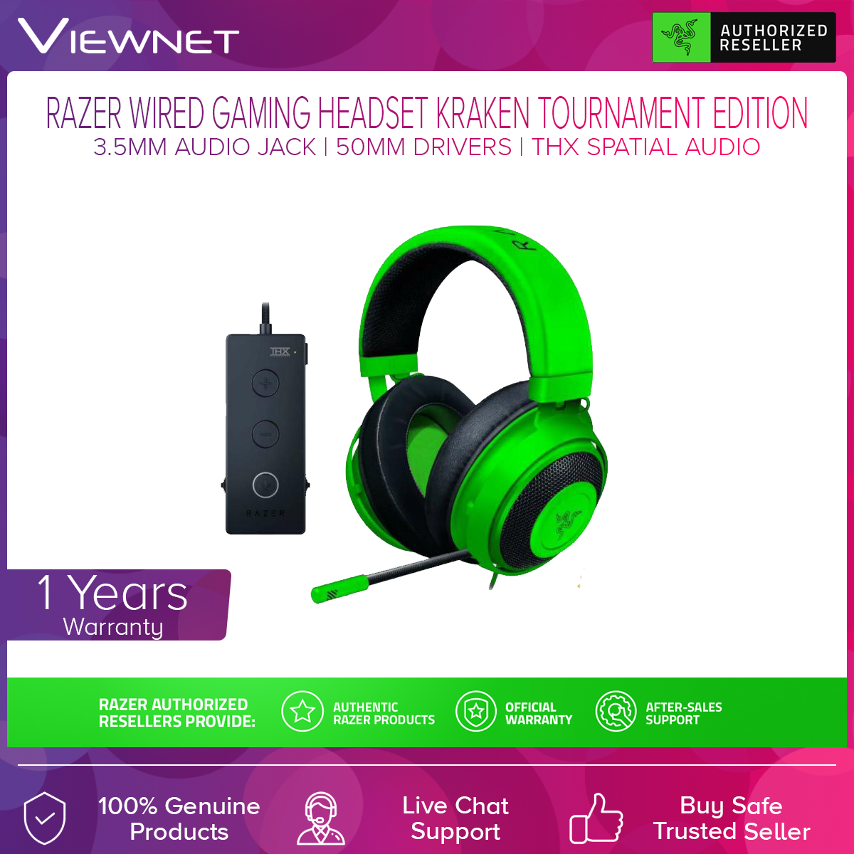 Razer Kraken Tournament Edition Wired Gaming Headset (With THX Spatial USB Dongle, PS4 Compatible) RZ04-02051000-R3M1 / RZ04-02051100-R3M1