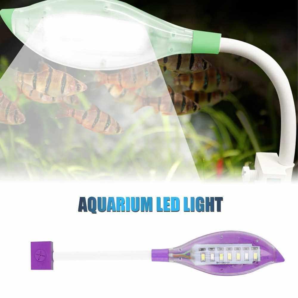 Aquarium Light Small LED Clip Light for Fish Tank USB Leaf Shape LED Light for Aquarium Fish Tank White Blue Lighting Color (Purple)