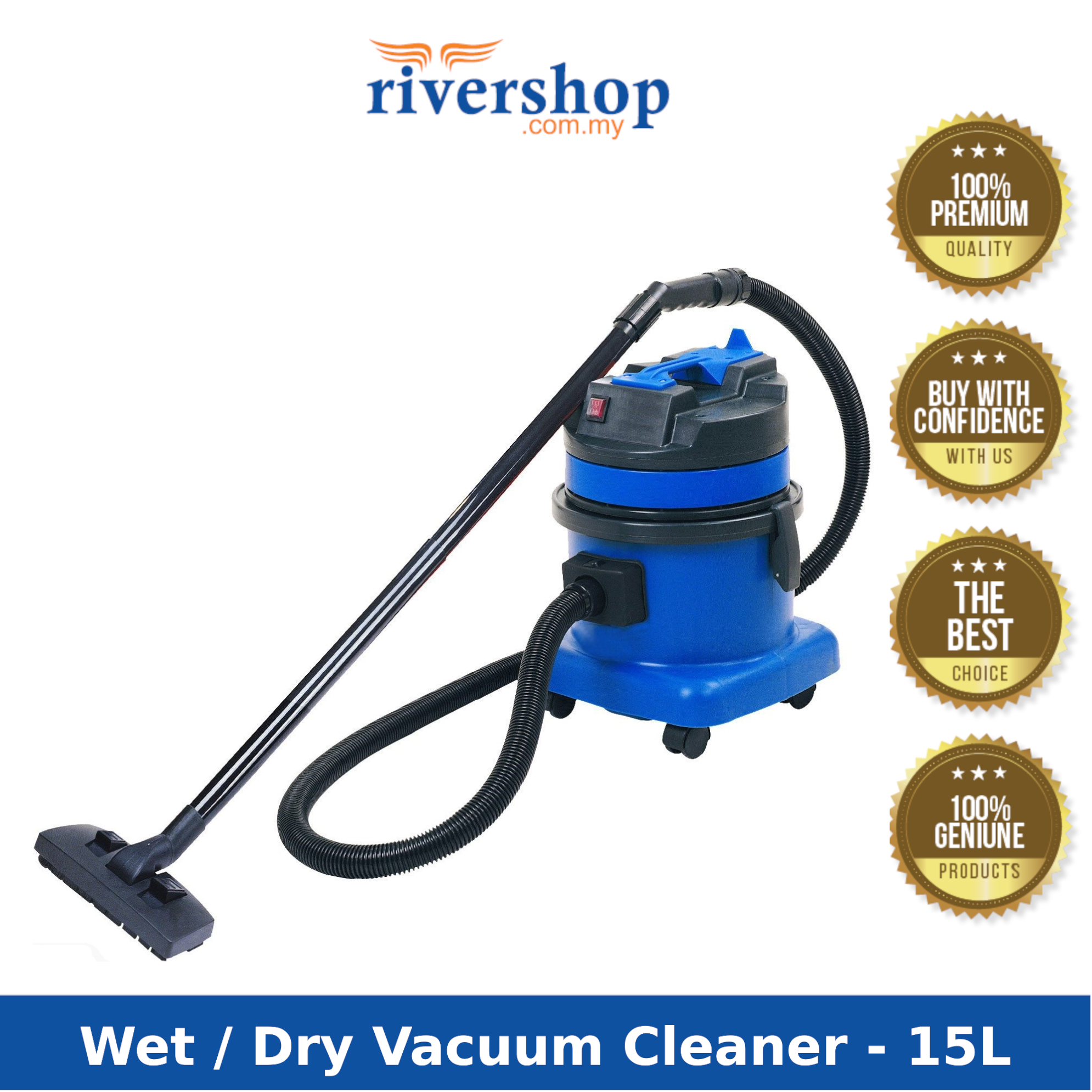 15/30Litres Wet & Dry Vacuum Cleaner SM 30 /15 Professional Industrial Vacuum Cleaner/ Heavy Duty Vacuum Cleaner / Vacuum machine for Car Wash & Home Cleaning Mesin Penyedut