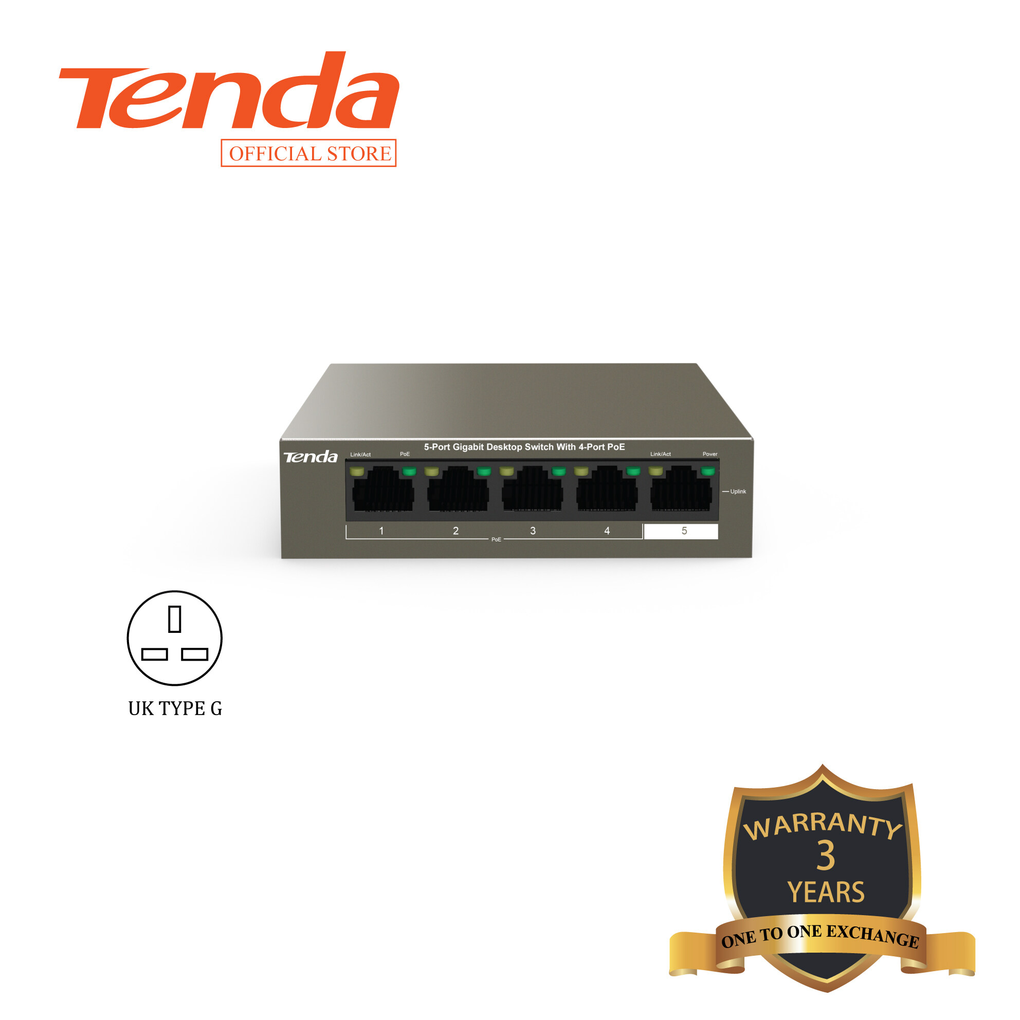 Tenda TEG1105P-4-63W 5-Port Gigabit Desktop Switch with 4-Port PoE