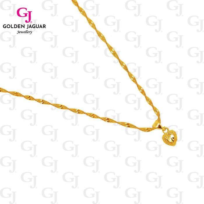 [HOT SALE] GJ Jewellery Emas Korea 24K Woman Gold Necklace - Rantai Leher Gila-Gila Simple Love Chain (40602)