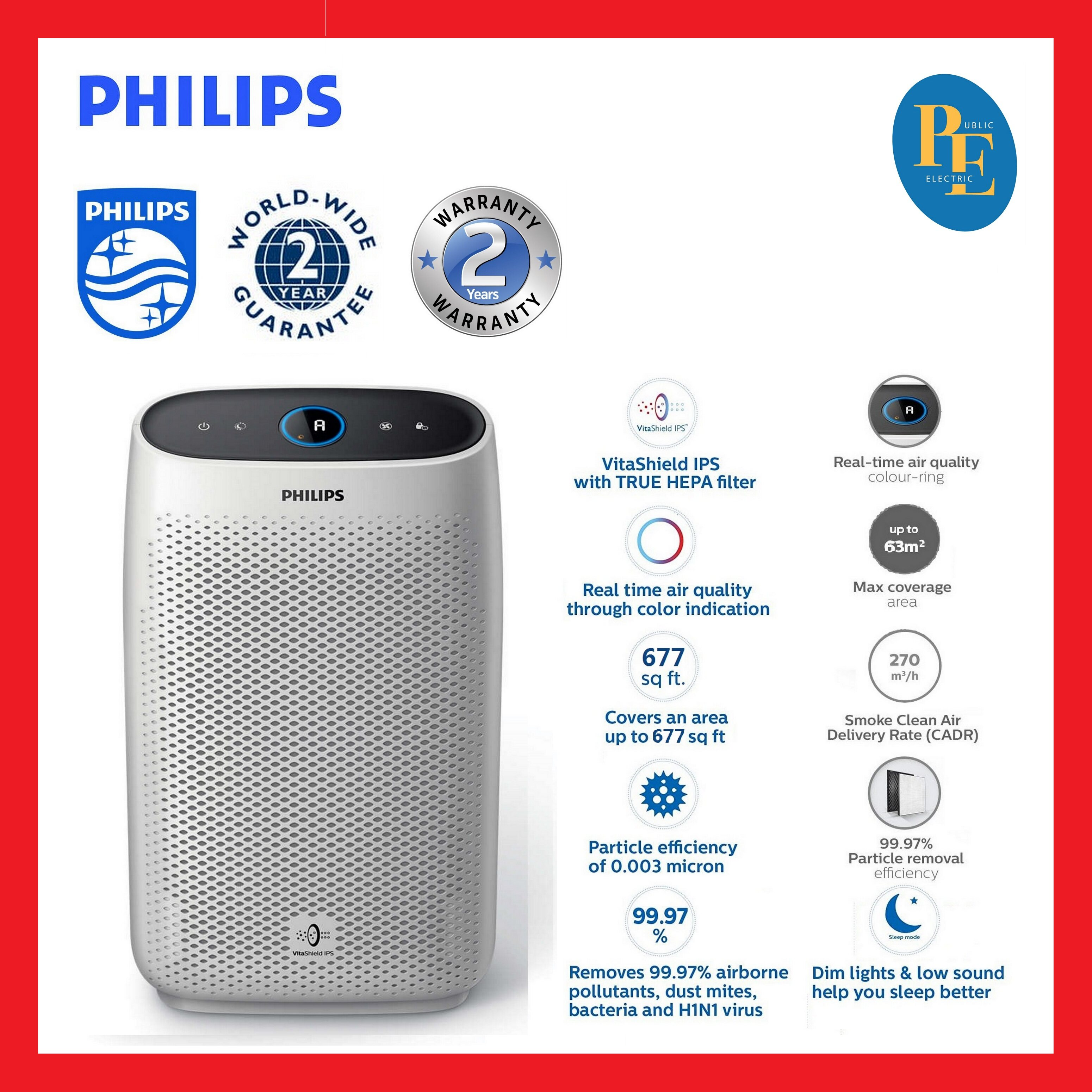 Philips Air Cleaner Air Purifier 63m   - AC1215