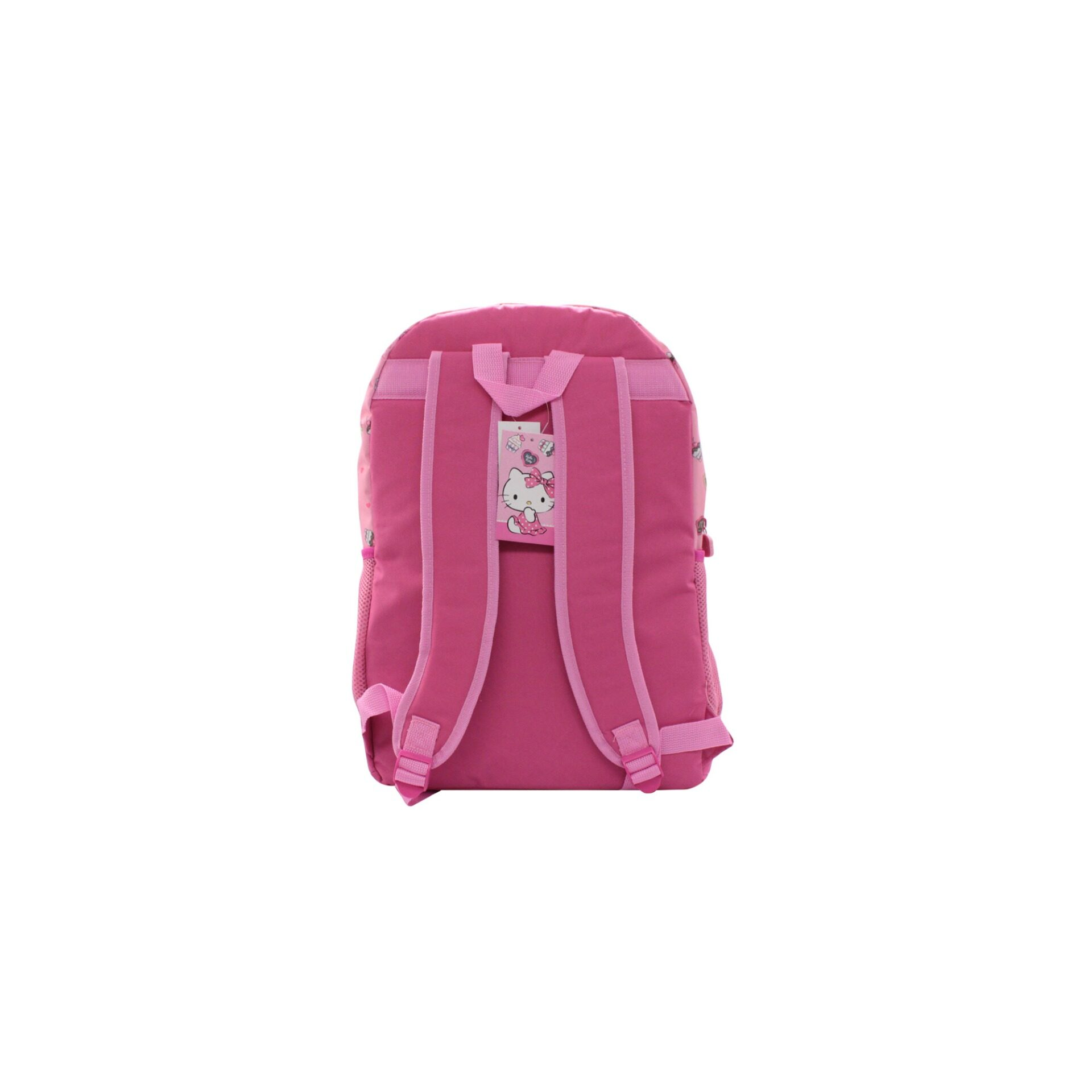 Sanrio Hello Kitty With Dessets Front Pocket Nylon Girls Back To School Backpack (Pink)
