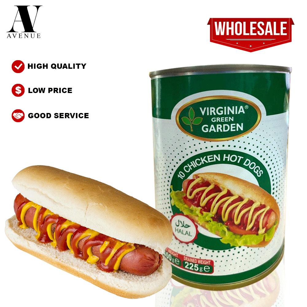 Virginia Green Garden 10 Chicken Hot Dogs ( Sausage ) 400g Halal هوت دوغ دجاج