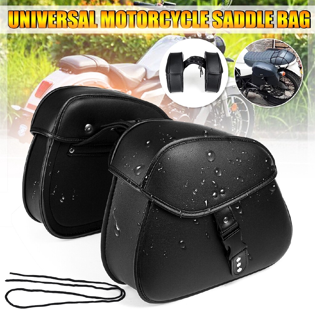Moto Accessories - Pair Universal Motorcycle PU Leather Saddlebags Side Tool Storage Saddle Bags - Motorcycles, Parts