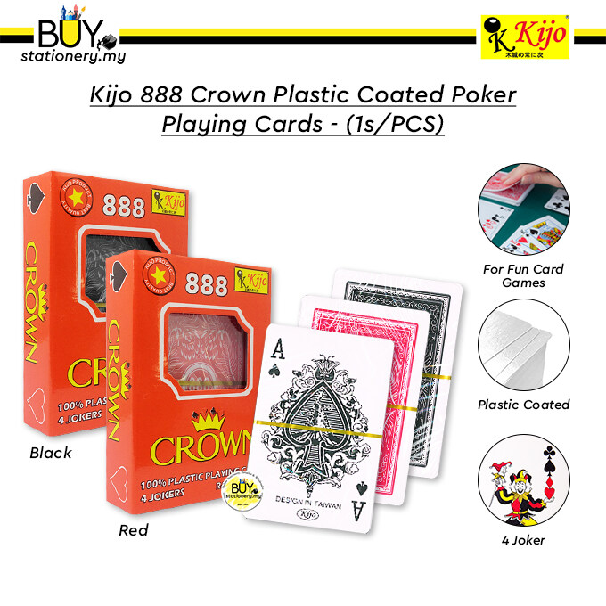 Kijo 888 Crown Plastic Coated Poker Playing Cards - (1s/PCS)
