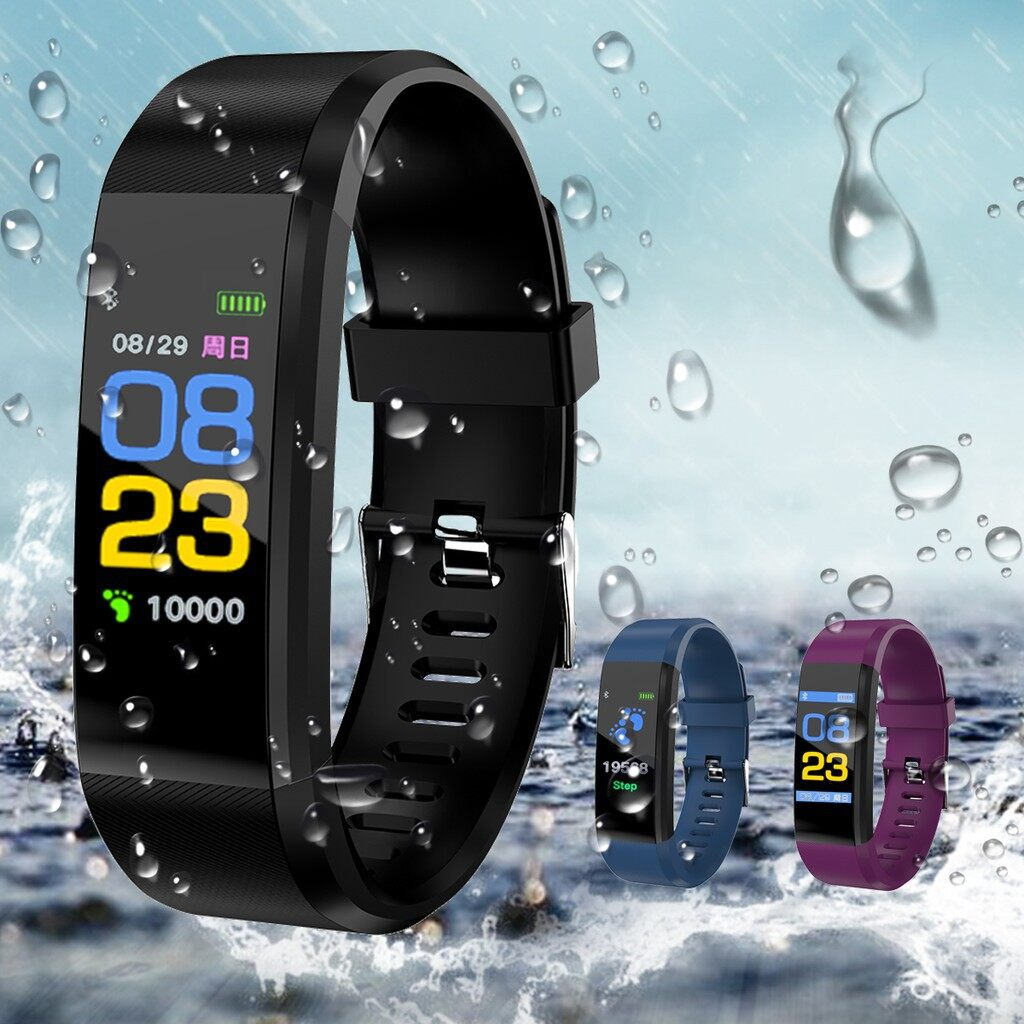 Smart Watch - Waterproof Smart Watch Heart Rate Monitor Blood Pressure Tracker Sports Fitness - BLUE / PURPLE / BLACK