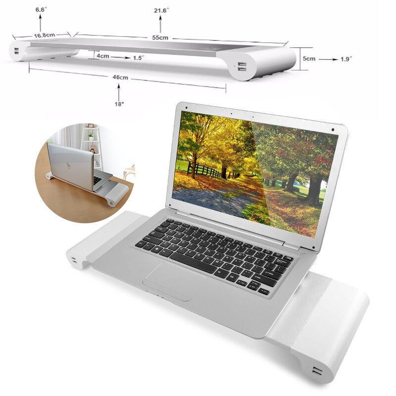 Monitors - Monitor Riser Stand Save Space Storage Table Desktop USB For Computer Laptop Pad - Computer Accessories