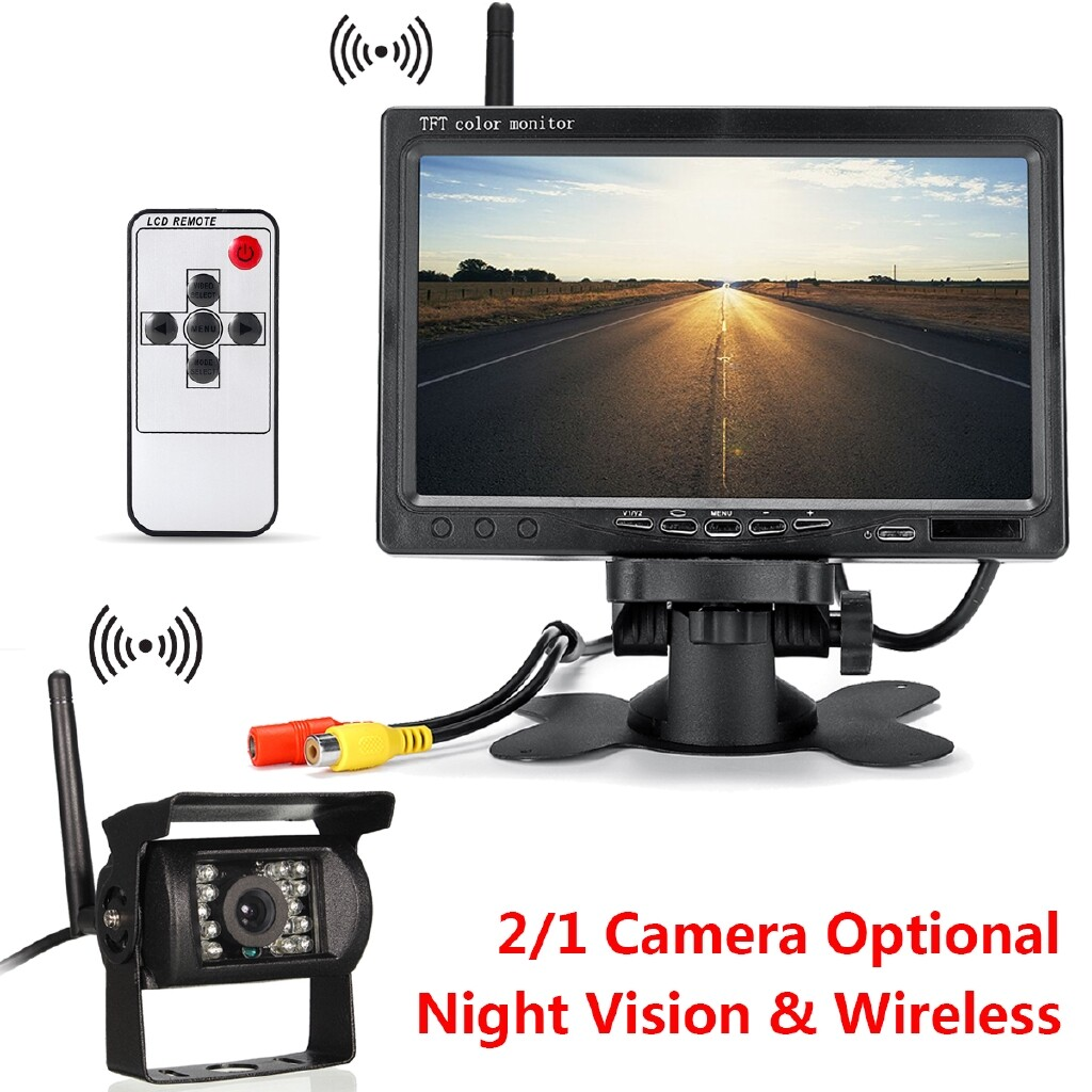 Drones & Action Cameras - 7 LCD Monitor Car Rear View Kit 12-24V for Bus Truck Car+ IR Reversing Camera - SINGLE- / DOUBLE