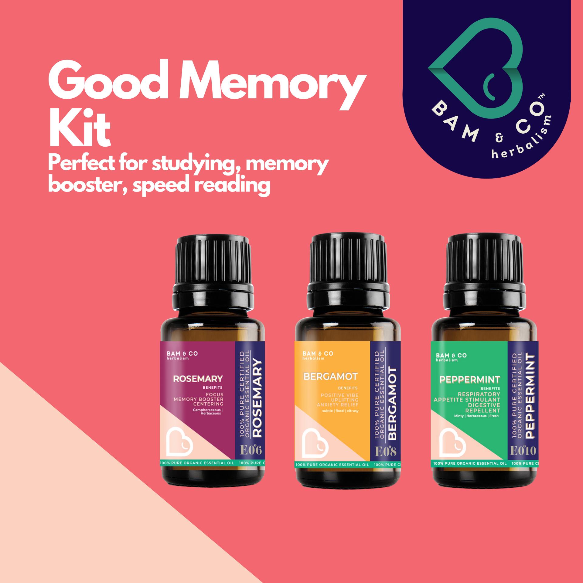 BAM & CO. GOOD MEMORY KIT ESSENTIAL OIL KIT SET PACK COMBO 3 SCENT 5ML