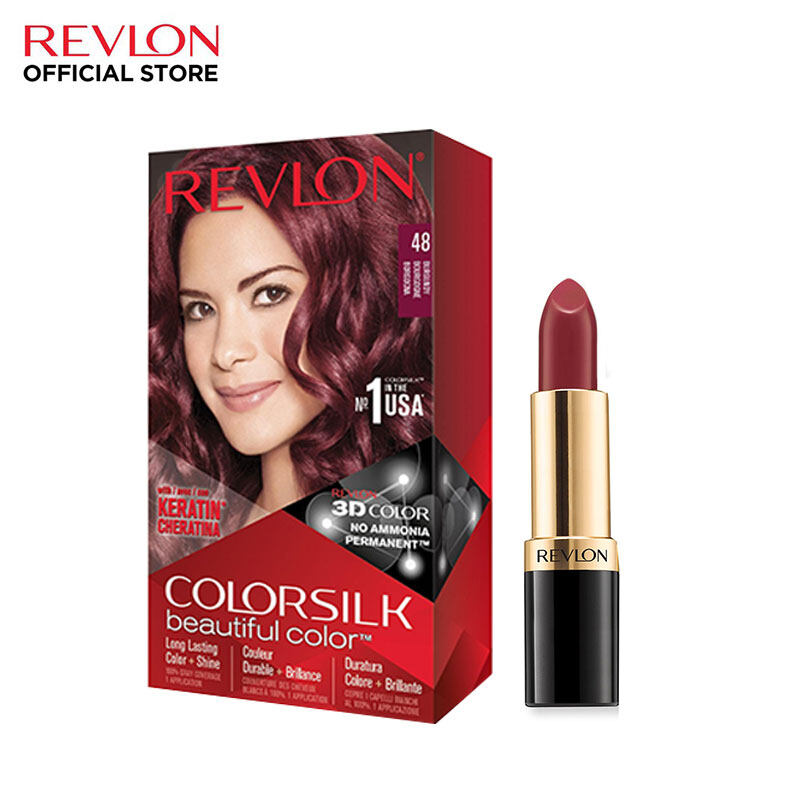 Revlon ColorSilk Burgundy Hair Color FREE Super Lustrous Rise Up Rose Lipstick