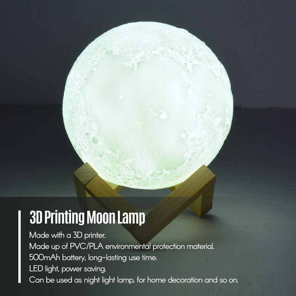 Table Lamps - Rechargeable Smart LED 3D Printing Moon Light Lamp with Stand Voice Control Remote Control 16 - WHITE-DIAMETER 15CM