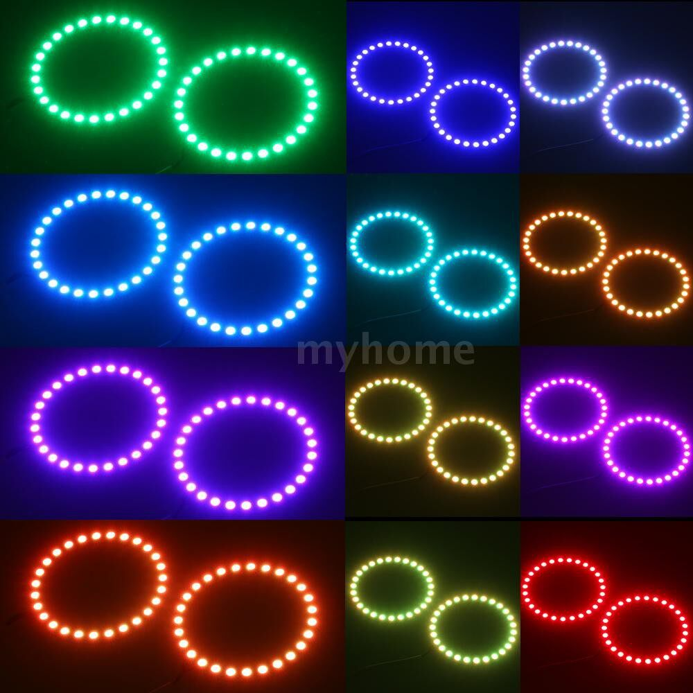 Bathroom Lighting - DC12V 13W 2 100MM RGB Multi-colored LED Angel Eyes Halo Ring SMD5050 with Remote - TYPE 2 / TYPE 1