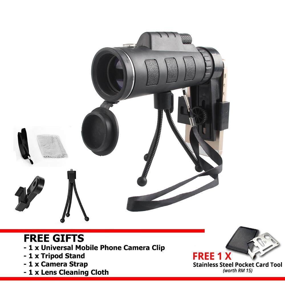 40x Phone Camera Lens Zoom HD Dual Focus Monocular Telescope Phone Holder