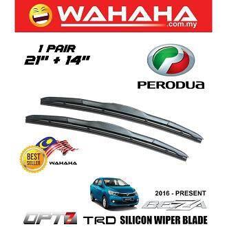 Perodua Bezza U Shape OPT7 Window Windshield TRD Silicon Wiper Blade 21 +14