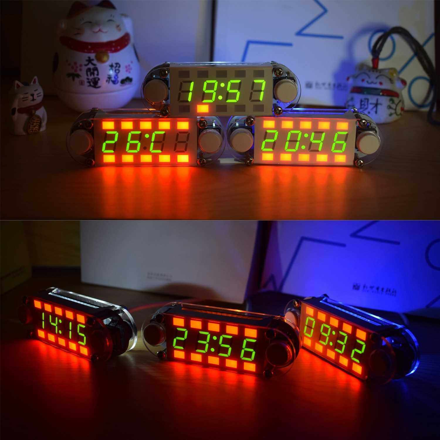 4-Digit Digital Clock DIY Kit LED Mixed Color Nixie Tube Table Desk USB-Powered Clock with Countdown Timer Stopwatch Alarm Light for STEM Students Beginner (Standard)