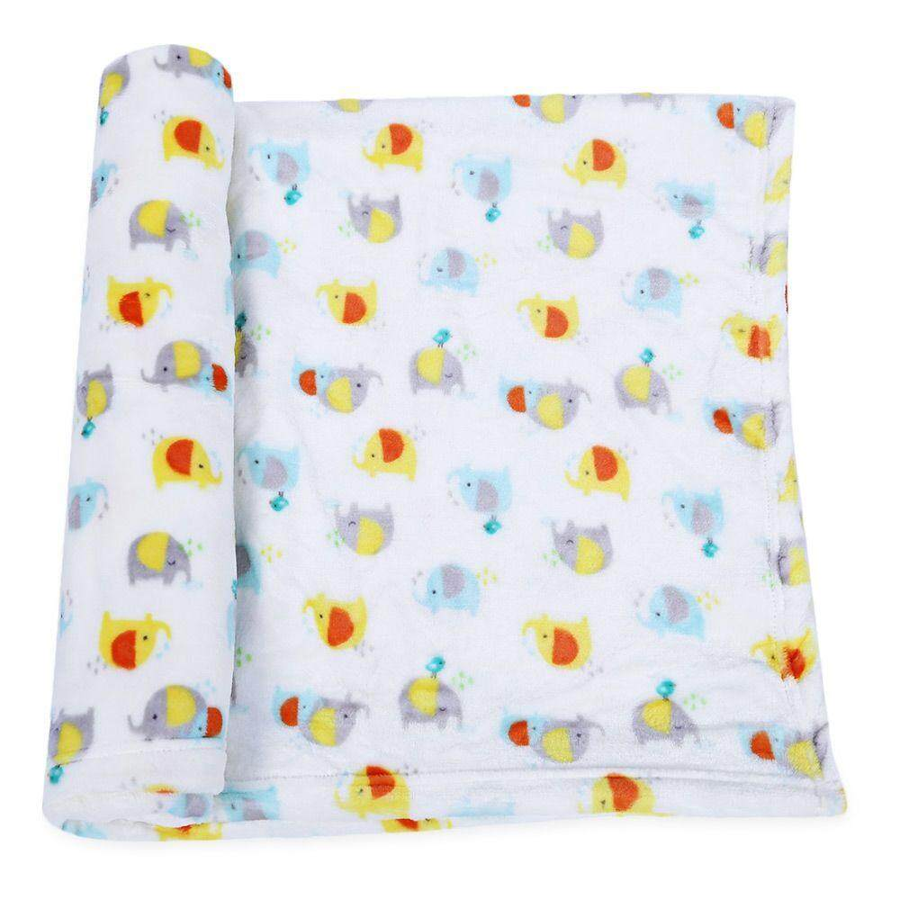 SUPER SOFT CHILDREN CARTOON PRINT PLUS SIZE BLANKET (COLORFUL ELEPHANT)