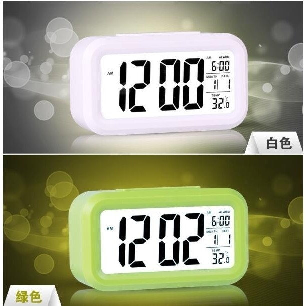 Led Digital Electronic Alarm Clock Backlight Time with Calendar + Thermometer - BLUE / WHITE / BLACK / GREEN / ROSE RED
