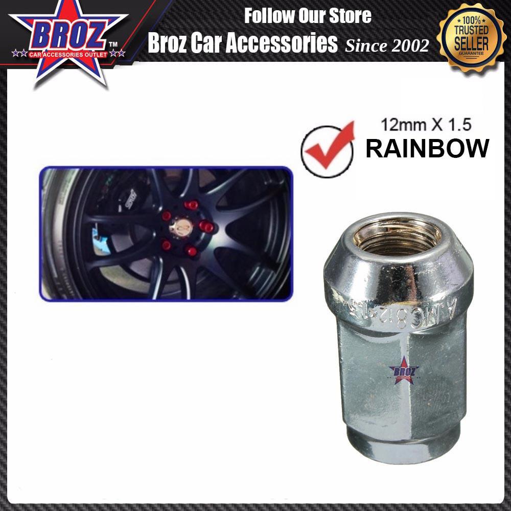 Broz 12 x 1.5 60 Degree Rainbow Tapered Locking Alloy Steel Wheel Lug Anti-theft Lock Nut with Key Tool (20pcs)