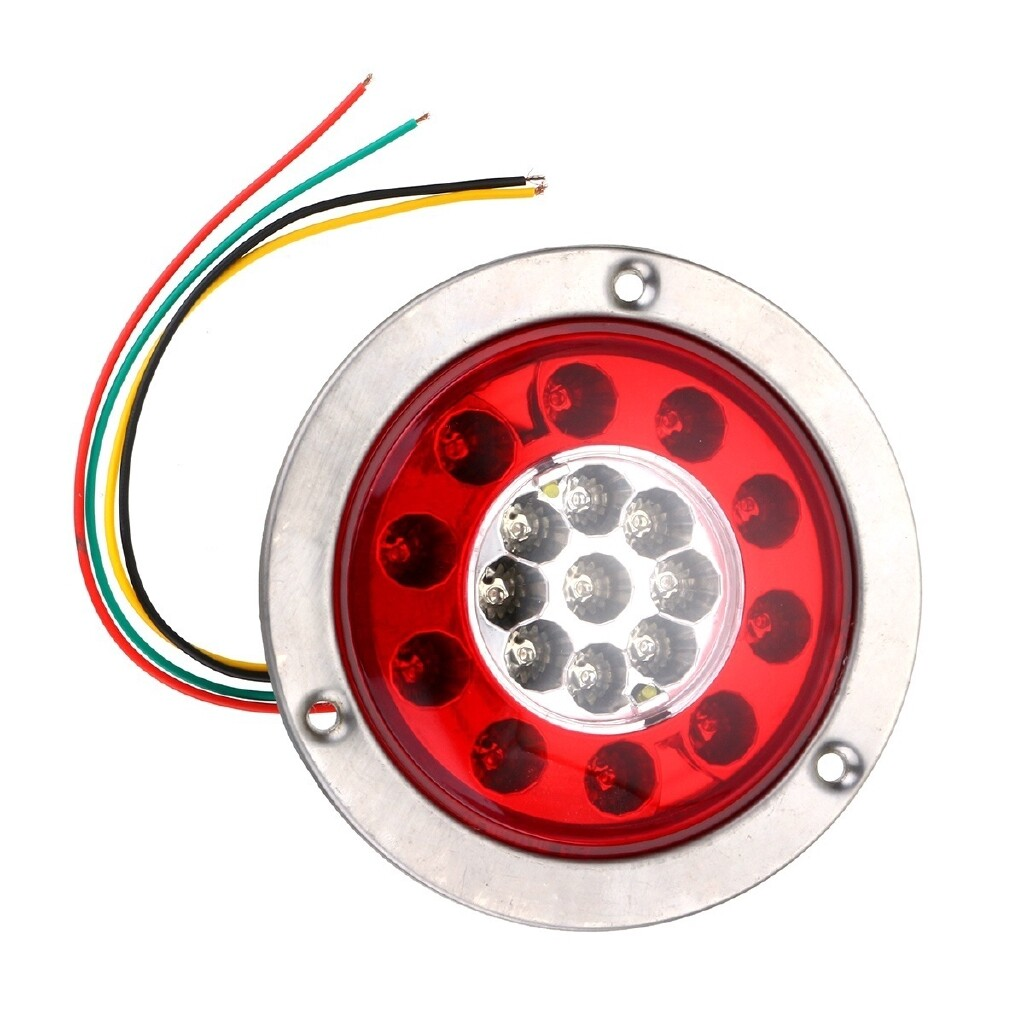 Car Lights - 2/4x 4.3 Round 19 LED Lamps Car Brake Stop Turn Tail Signal Lights Steel Ring - Replacement Parts