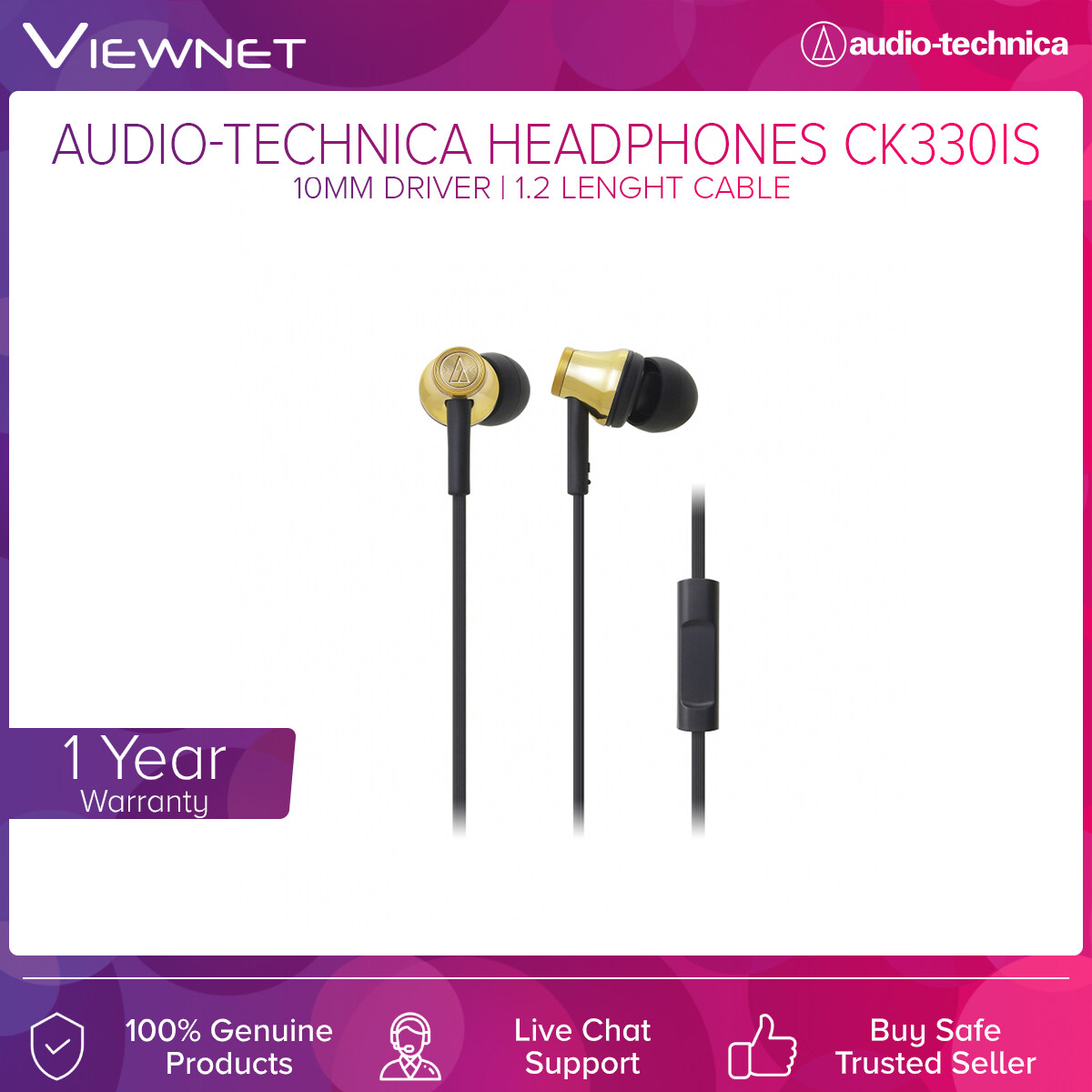 Audio-Technica Headphones ATH-CK330IS with 10mm Driver, 20- 23,000 Hz Frequency, 1.2m Length Cable, Gold-Plated 3.5mm Audio Jack