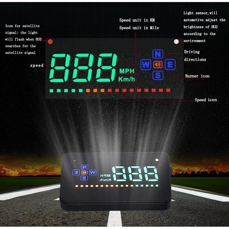 A2 HUD 3.5 inch GPS Car Head Up Display Speed Projector Digital Car Speedometer