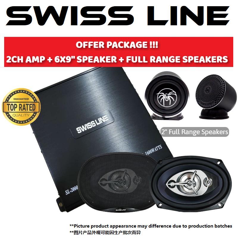 """SWISS LINE PACKAGE 2 CHANNEL CAR POWER AMP + SWISS LINE S-69 6X9 4-WAY COAXIAL CAR SPEAKERS 250W + RX.3FR 2"""" Full Range Speakers"""