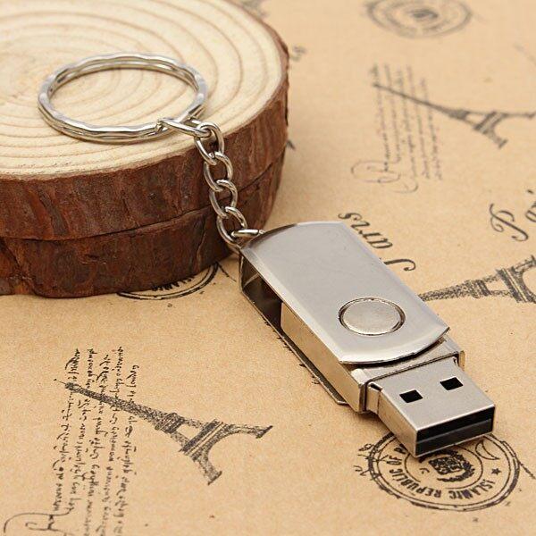 Solid State Drives - Silver Metal Swivel Flash Memory Stick Storage Thumb Pen Drive - Storage & Hard