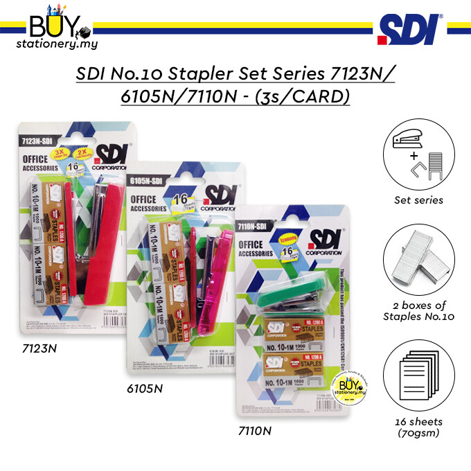 SDI No.10 Stapler Set Series 7123N/6105N/7110N - (3s/CARD)