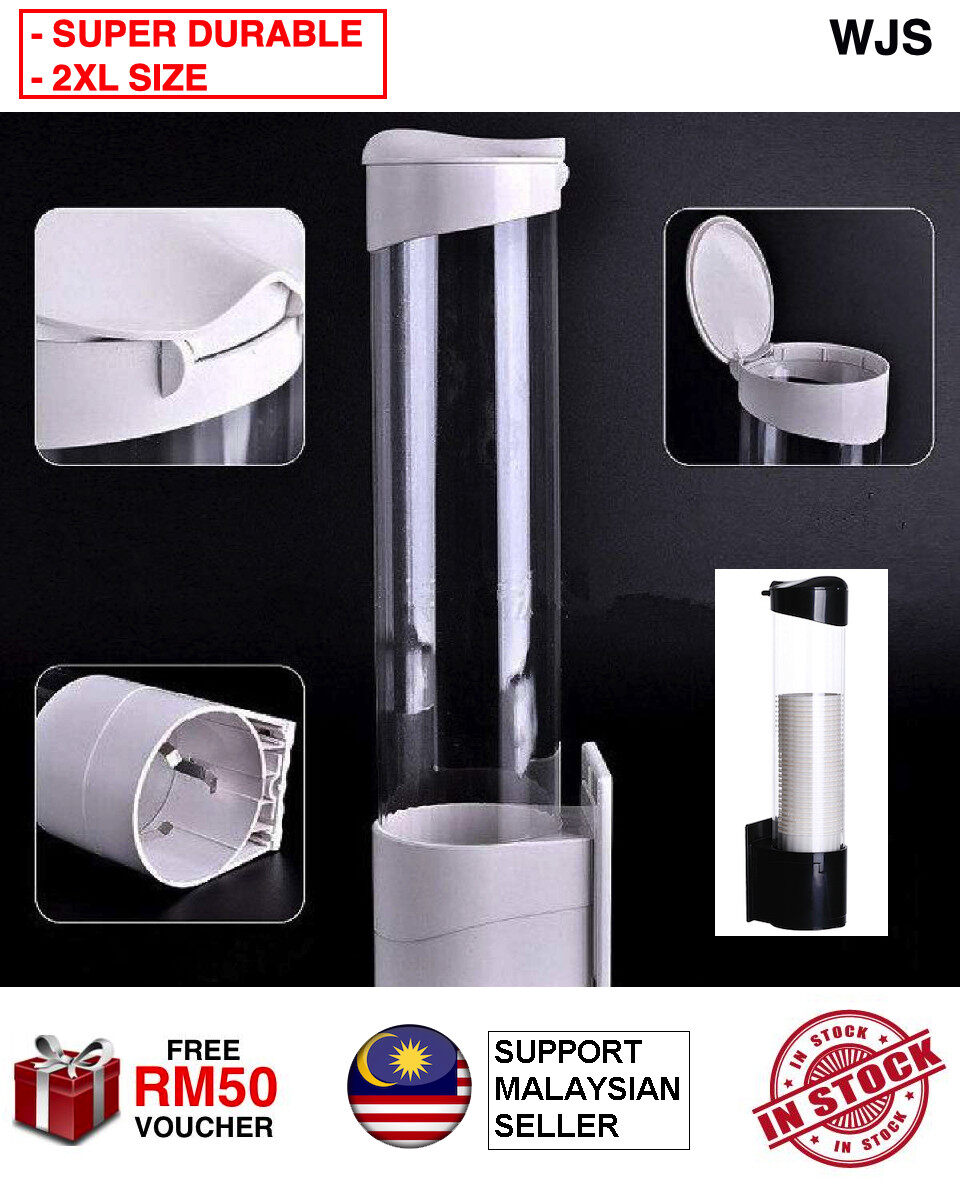 (2XL SIZE) WJS Premium Durable Paper Cup Holder Paper Cup Dispenser With Free Mounting Plastic Cup Holder Dispenser Water Dispenser Cup Platform BLACK WHITE [FREE RM 50 VOUCHER]