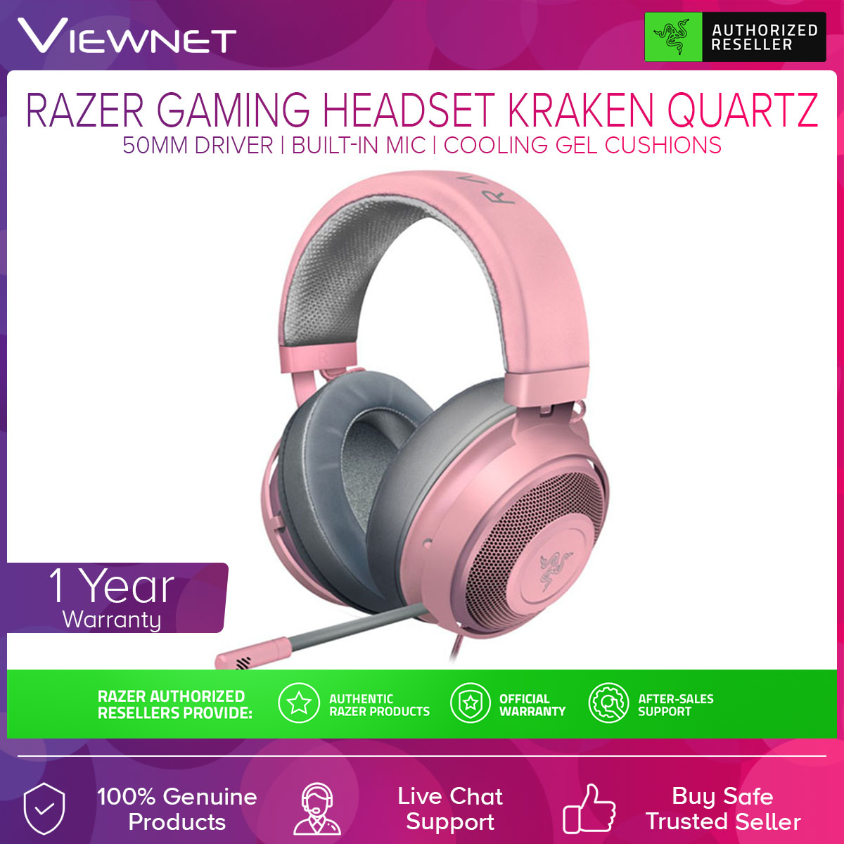 Razer Kraken Gaming Headset Gaming 2.1 (RZ04-02830300-R3M1 / RZ04-02830400-R3M1)  (Quartz / Mercury) with 50MM Driver, Colling Gel Cushions, Aluminum Frame, Thicker Headband Padding, Built-In Mic, Cross-Platform Compatibility