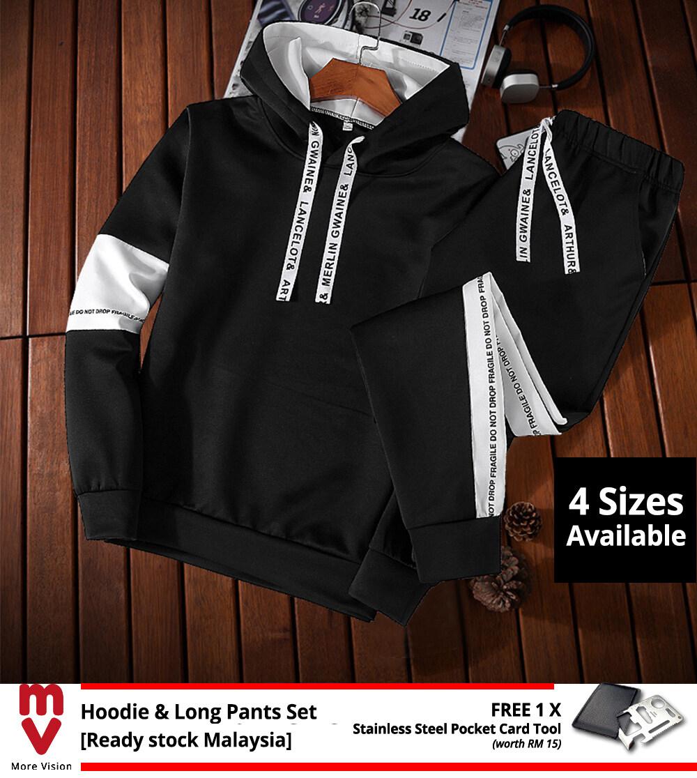 [Ready Stock] Hoodie & Long Pants Set 2PCS Men's Casual Sports Jackets Comfortable New Fashion Style Top Clothing Shirt Jacket