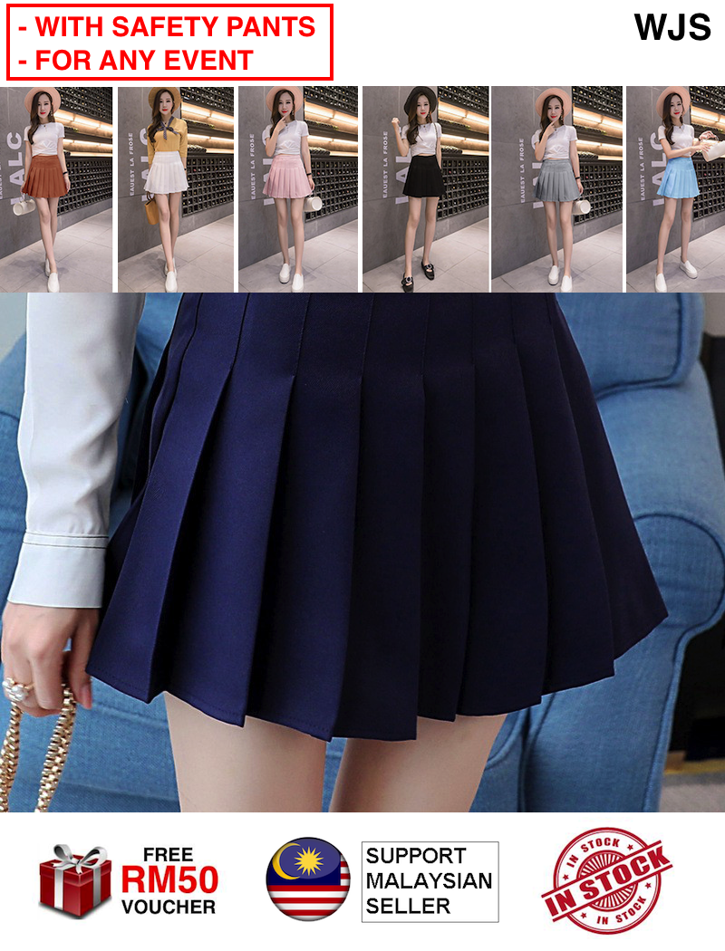 (WITH INNER PANTS) WJS Latest Hot Korean Style Women Short Mini Skirt A-Line Pleated Anti-light Tennis Shorts Skirts Safety Pants Inner Panties Pant MULTICOLOR [FREE RM 50 VOUCHER]