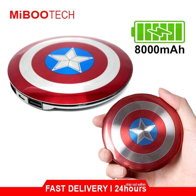 [Miboo] Marvel Captain America Limited Edition 8000mAh Powerbank & Wireless Charging Pad Travel Friendly Marvel Lover - Marvel Powerbank 8000mAh
