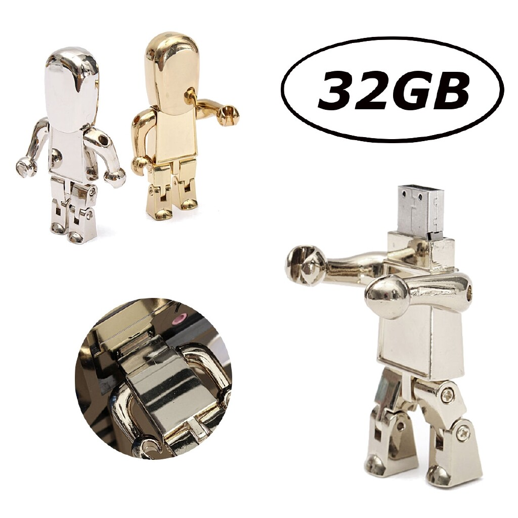 External Hard Drives - 32GB USB 2.0 Metal Robot Model Flash Memory Stick Storage Thumb Pen Drive U Disk - GOLD / SILVER