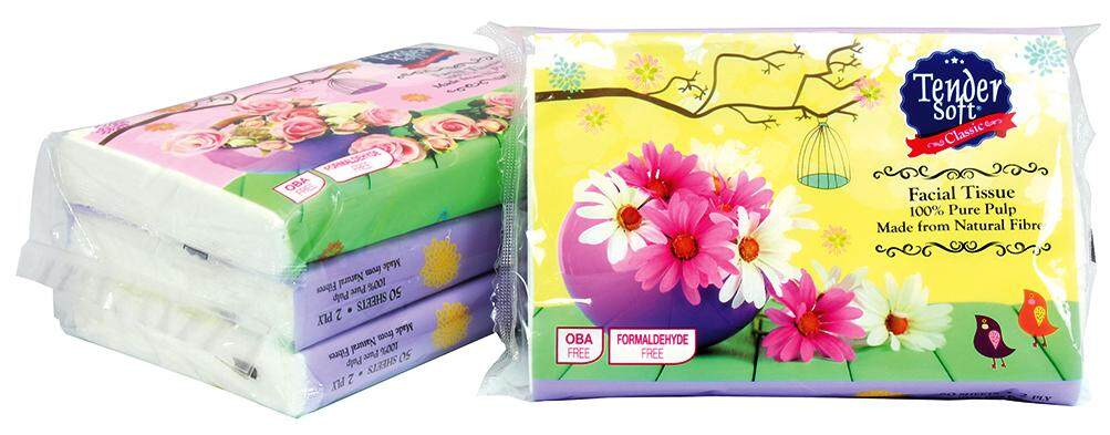 Tender Soft Classic Facial Tissue (100% Pure Pulp) 3x50 Sheet@2 PLY