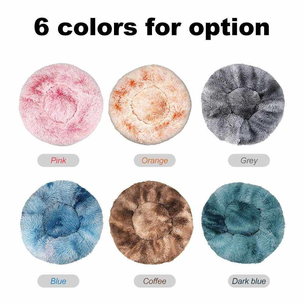 Bedding Plush Faux Fur Round Pet Dog Bed, Comfortable Fuzzy Donut Cuddler Cushion for Dogs & Cats, Soft Shaggy and Warm for Winter(Blue,16'') (Pink)