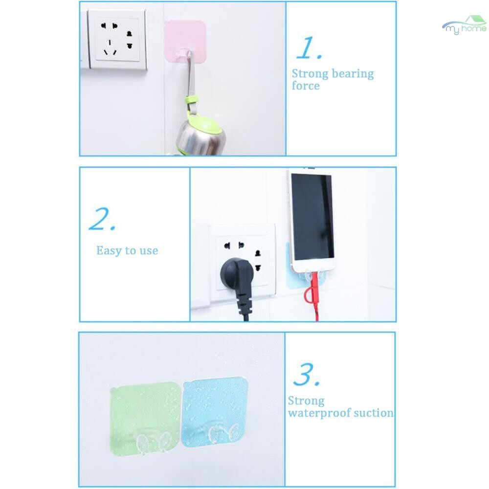 Lighting - Powerful Traceless Hooks Nail-free Mop Socket Receptacle Magic Stick Hook Pink - PINK / PURPLE / BLUE / WHITE / GREEN