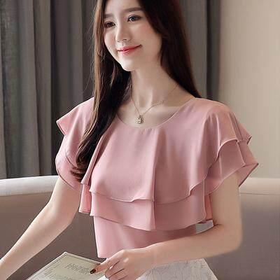 (Pre Order14 Days JYS Fashion Korean Style Women Chiffon Top Collection 526-6348Col525a-6348--Pink -XL