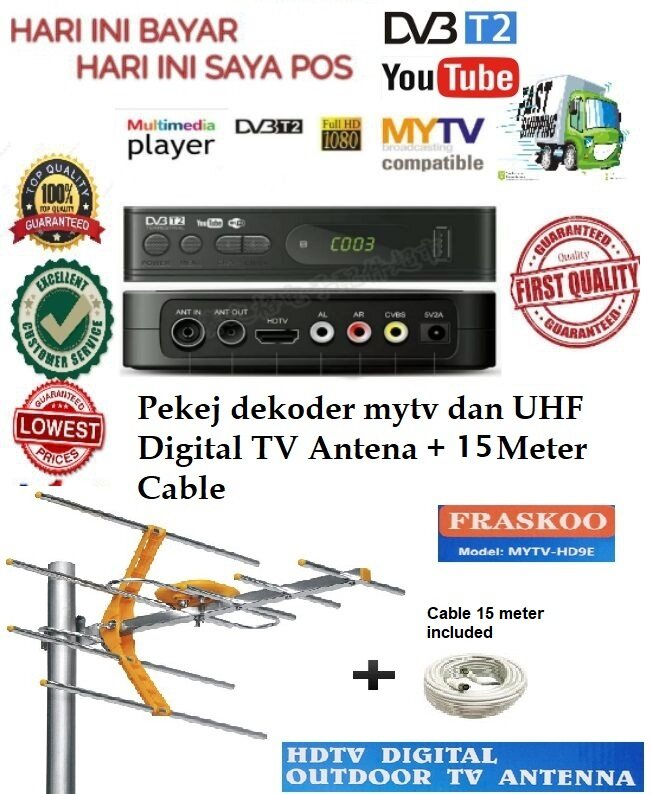 Fraskoo K2 Pro Megogo with 8 Element UHF MYTV HD9E Antenna with 15m Cable