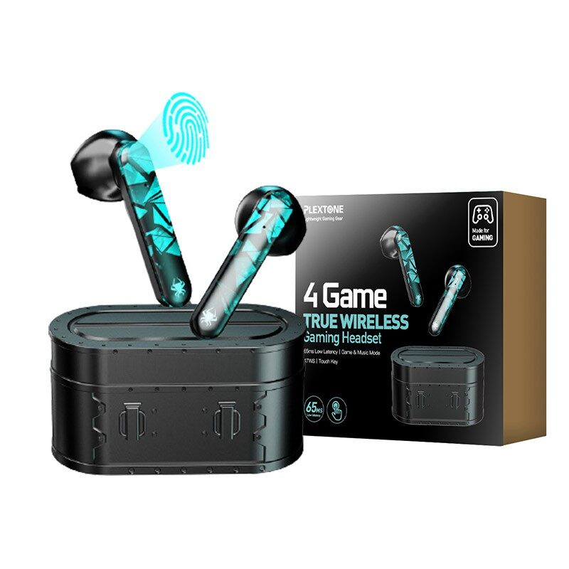 Plextone 4Game Wireless Bluetooth Gaming Earbuds with Bluetooth 5.0, 65MS Low Latency, 4 Hours Play Time, Touch Operation