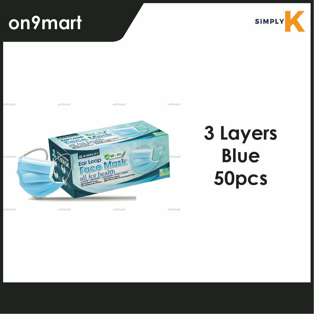 Simply K Ear Loop 3 Layers Non-Wowen Face Mask 50's (Blue)